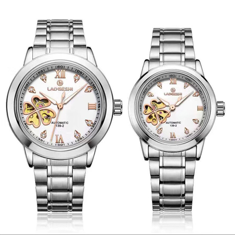 Relogios Femininos Hollow Automatic Mechanical men Watches Women Dress Watch Lucky 4 leaf grass Montres Femmes Ladies Clock lucky chance in may men shandbags 8