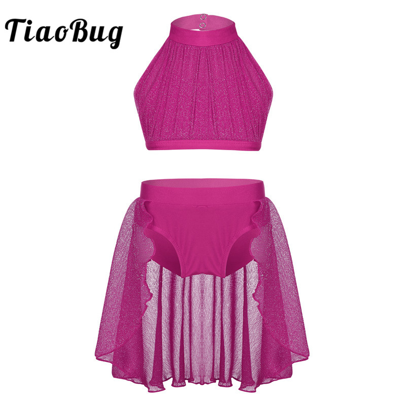 TiaoBug Girls Backless Ballet Tutu Dance Wear Kids Crop Top Shorts Skirt Set Ballerina Stage Contemporary Lyrical Dance Costumes