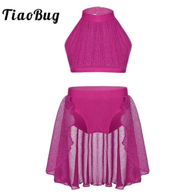bd41f82da TiaoBug Girls Backless Ballet Tutu Dance Wear Kids Crop Top Shorts ...