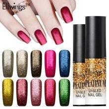 Ellwings 1 шт. 6 мл persistant УФ Гели для ногтей Platinum Gold гель лак Gitter Гели для ногтей лак Soak Off УФ палец Гели для ногтей