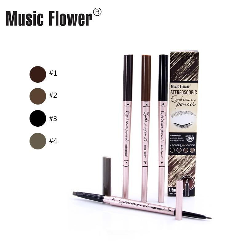 Muzica de flori marca 4 Culoare dublă cap sprâncene creion Creioane - Machiaj