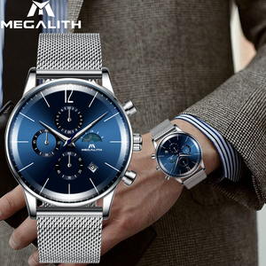 Image 5 - MEGALITH Fashion Mens Watches Top Brand Blue Face Sport Waterproof Chronograph Quartz Wristwatch For Men Clock Relogio Masculino