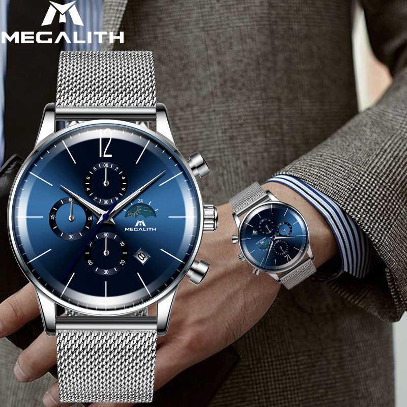 MEGALITH mode hommes montres Top marque bleu visage Sport étanche chronographe Quartz montre-bracelet pour hommes horloge Relogio Masculino