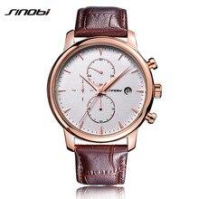 SINOBI Chronograph Watches Mens Business Fashion Brown Leather Strap Quartz Watch Male Wrist Watch 2018 Relogio