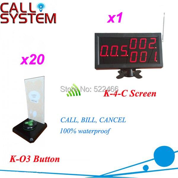Официант вызова Bell система для ресторан кафе, Один комплект состоит из 20 беспроводная пуговица и 1 номер дисплей