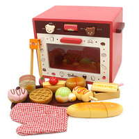 New Oven Wooden Toys Food Cooking Simulation Tableware Children Kitchen Pretend Play Toy Fruit Vegetable with Tableware D157