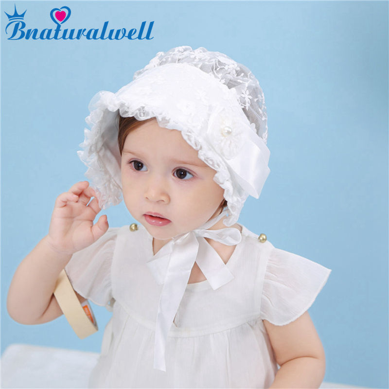 Bnaturalwell Baby Girls Bonnet Wedding Bonnet Toddler Hats Lace Flower Hat Christening Bonnet Gift Newborn Photo Prop H057