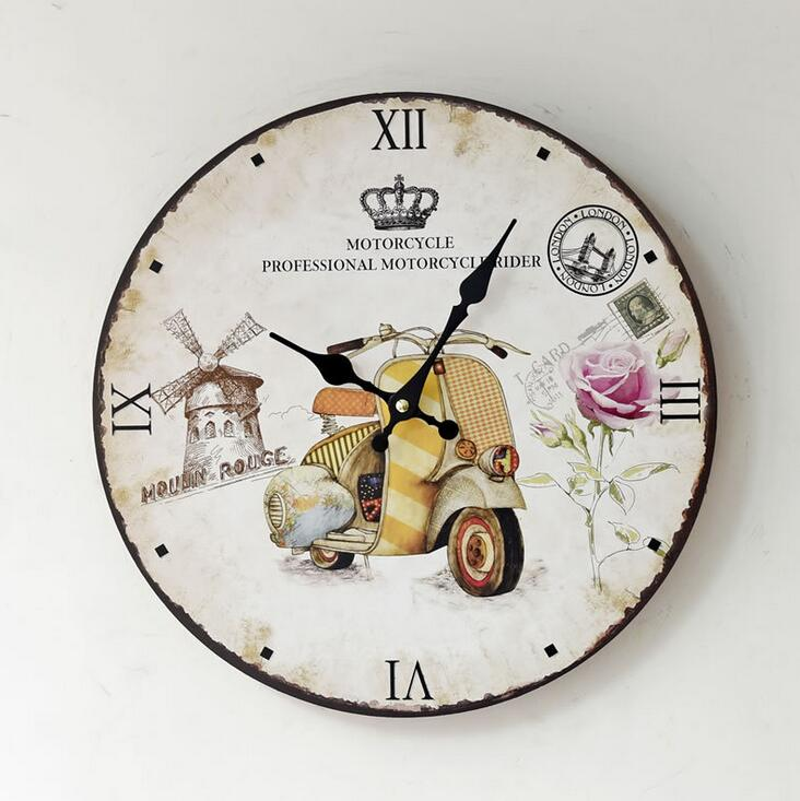 Decorative Wall Clocks For Home Office : Retro motorcycle decorative wood digital wall clock office