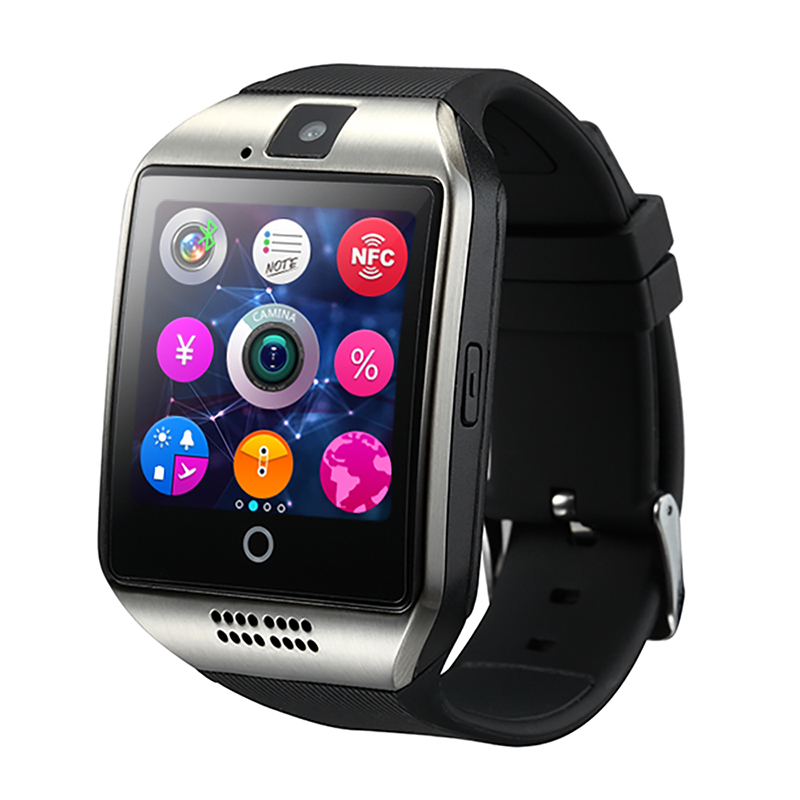 SmartWatch Ny Q18 Passometer Smart klocka med Touch Screen Camera TF-kort Bluetooth Smartwatch för Android IOS Phone Men Watch