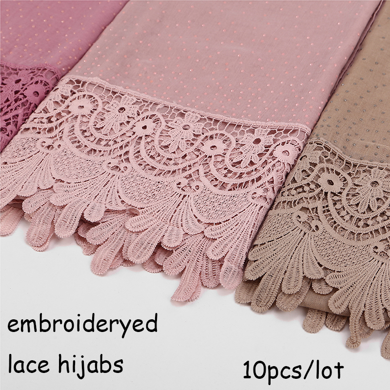 10 PCS/LOT New Cotton Fashion Lace Scarf Hijab Floral Embroidery And Shinny Beach Scarf Long Muslim Autumn Wrap Scarves/shawls