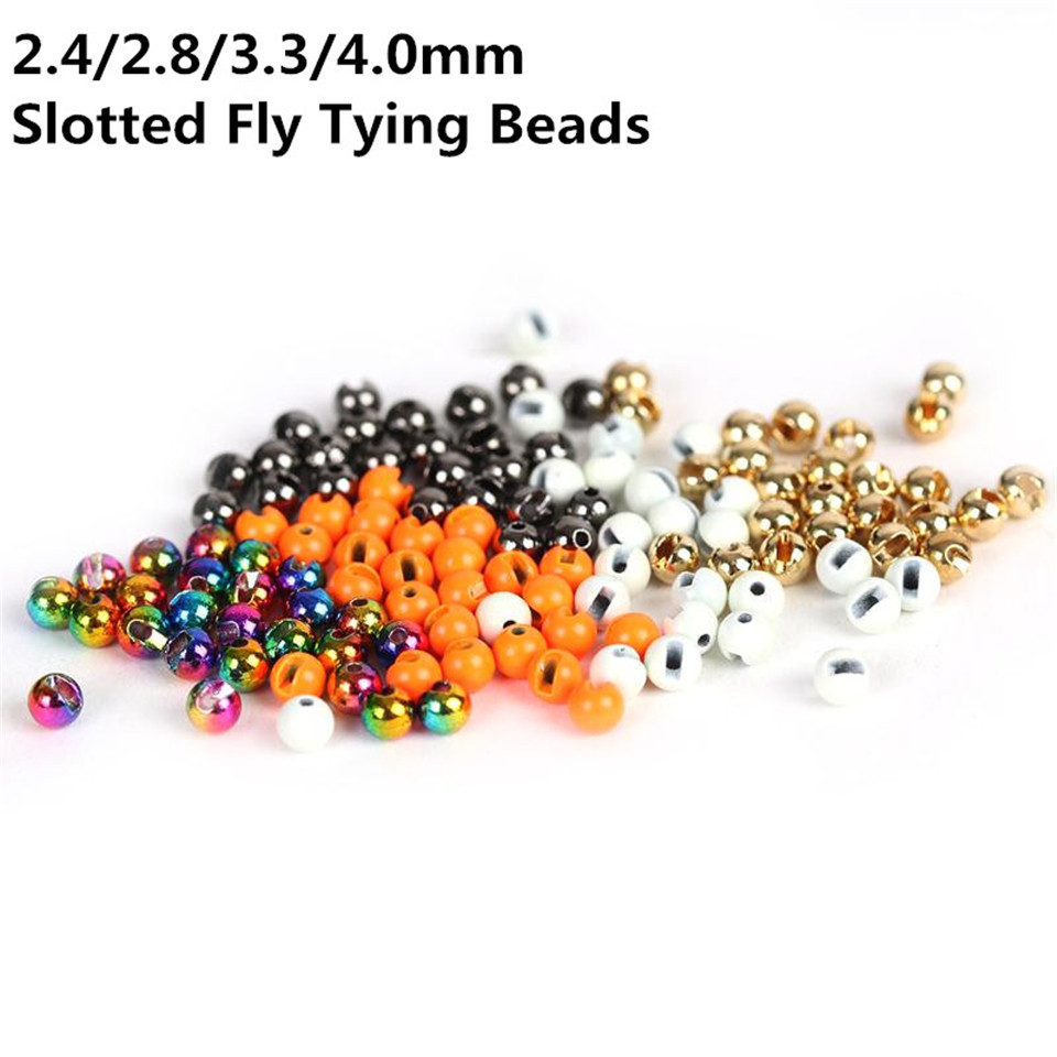 Maximumcatch 25Pcs/lot Nice-Designed Slotted Tungsten Beads Fly Tying Beads Tungsten 2.4mm/2.8mm/3.3mm/4.0mm Fly Tying Material