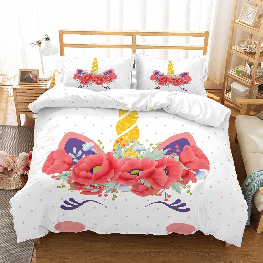MUSOLEI 3D Duvet Cover Set unicorn flowers Poppy flower smilling kids'/lovers Presents/gifts Bed Sheet Twin queen king
