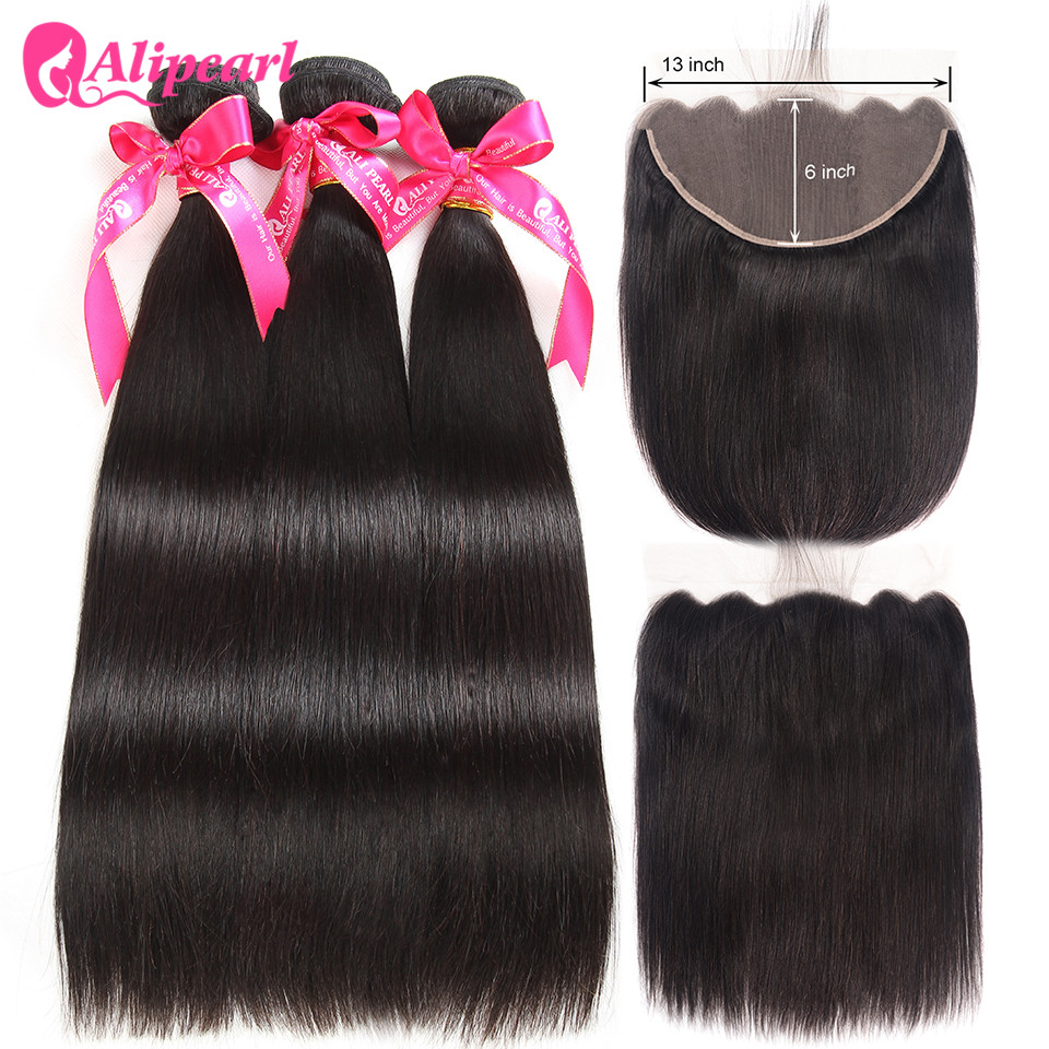 Ali Pearl Hair 13x6 Lace Frontal Closure With Bundles Straight Hair Weave 3 Pcs With Frontal Remy Hair