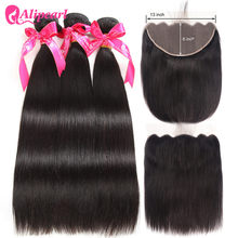 Ali Pearl Hair 13x6 Lace Frontal Closure With Bundles Straight Hair Weave 3 pcs With Frontal Remy Hair(China)