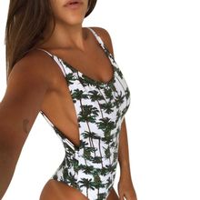 Sexy backless printed leaves one-piece swimsuit with chest paded round collar Maillot De Bain Biquinis