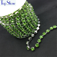 Peridot Color 28ss 38ss 45ss High Quality Crystal Rhinestone Round Cup Chain Silver Base 8mm Glass