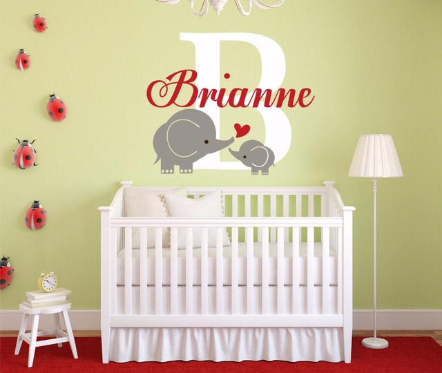Personalized Custom Name Vinyl Wall Stickers Mother & Son Elephant ...