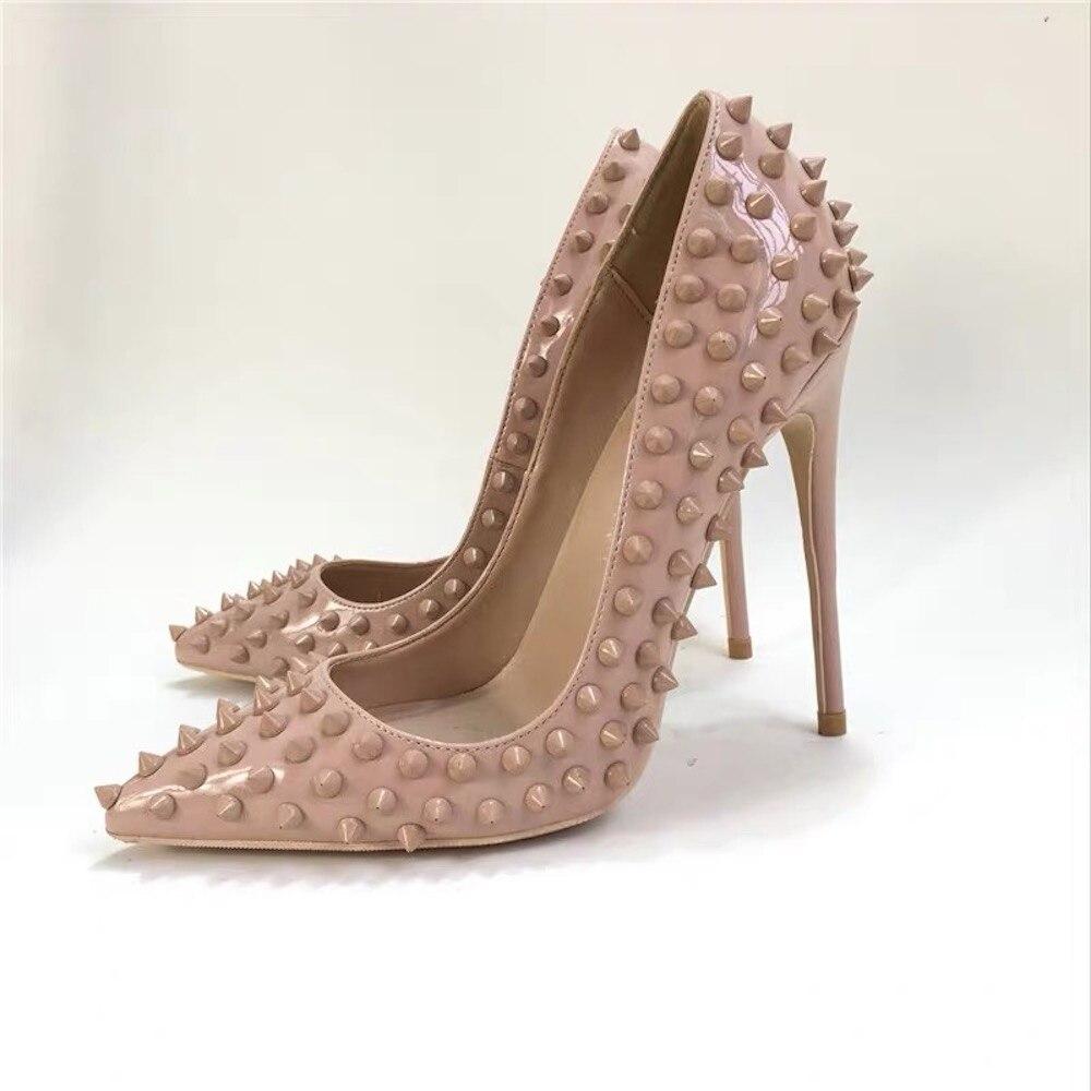 ผู้หญิงรองเท้าหนังแท้รองเท้าหนังส้นสูงชี้ Toe ผู้หญิงปั๊มส้นแฟชั่นงานแต่งงานชุดปั๊มขนาดใหญ่ 43-ใน รองเท้าส้นสูงสตรี จาก รองเท้า บน   1