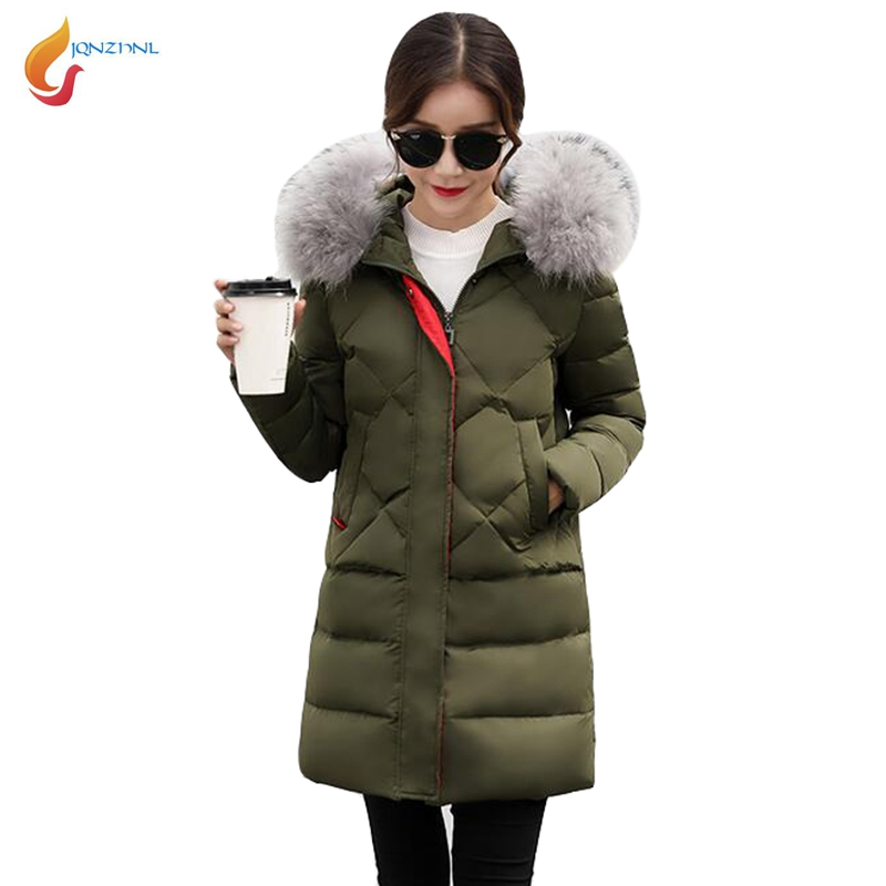 JQNZHNL 2017 New Winter Down Parkas Women Big Fur Hooded Cotton-padded Jacket Coat Medium Long Slim Thick Down Cotton Coats L847 2017 free shipping new autumn winter long down big fur coat padded slim women fashion high street coats