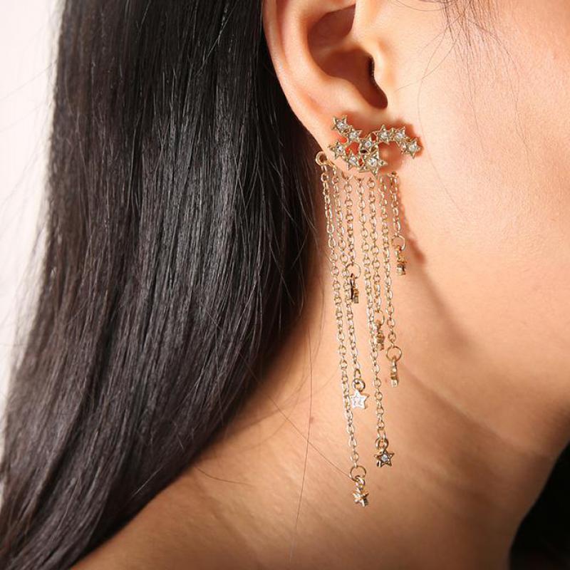 1 Para Mode Gold Silber Stern Ohrringe Für Frauen Kristall Lange Quaste Ohrringe Tropfen Schmuck Pendante Boucle D'oreille Femme