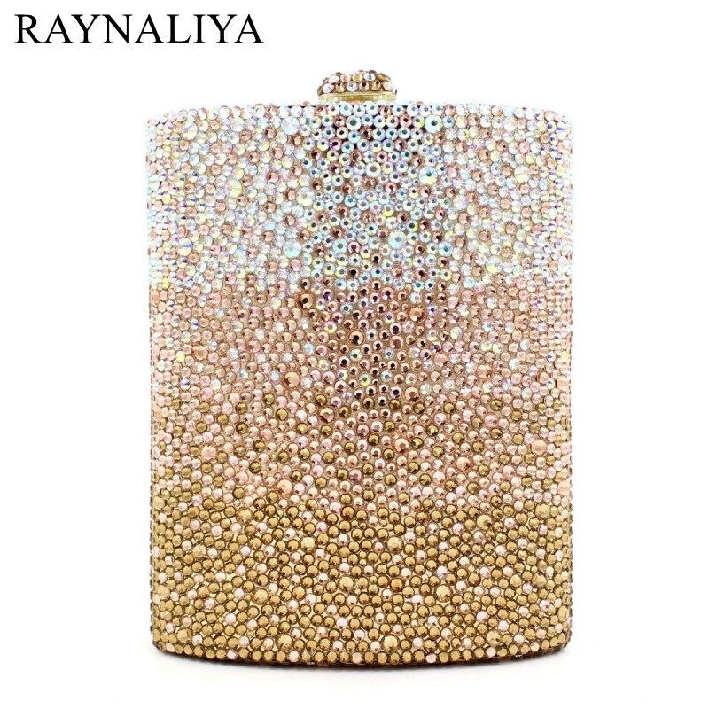 Femmes diamant fête de mariage vin Pot embrayages Hadnbag parfum bouteille cristal soirée pochette sac or sac SMYZH-E0143