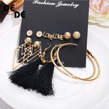 6 Pcs/Set Fashion Geometric Vintage Stud Earrings For Woman Contrast Tassel Round Gold Black Color Set Jewelry 2019