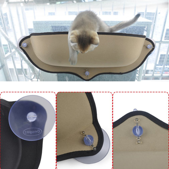 Cat Hammock Perch Window Seat Suction Cups Space Saving Pet Resting Soft Swing