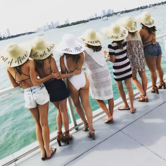 22181b01a US $22.48 10% OFF|personalized text Bride beach wedding floppy Mrs Sequin  Sun Hats Just married Drunk in love Honeymoon bridal party gifts favors-in  ...