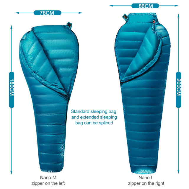 AEGISMAX M2 new upgrade Ultralight  Mummy 95%White Goose Down Sleeping Bag Outdoor Camping Hiking Fully lining structure 3