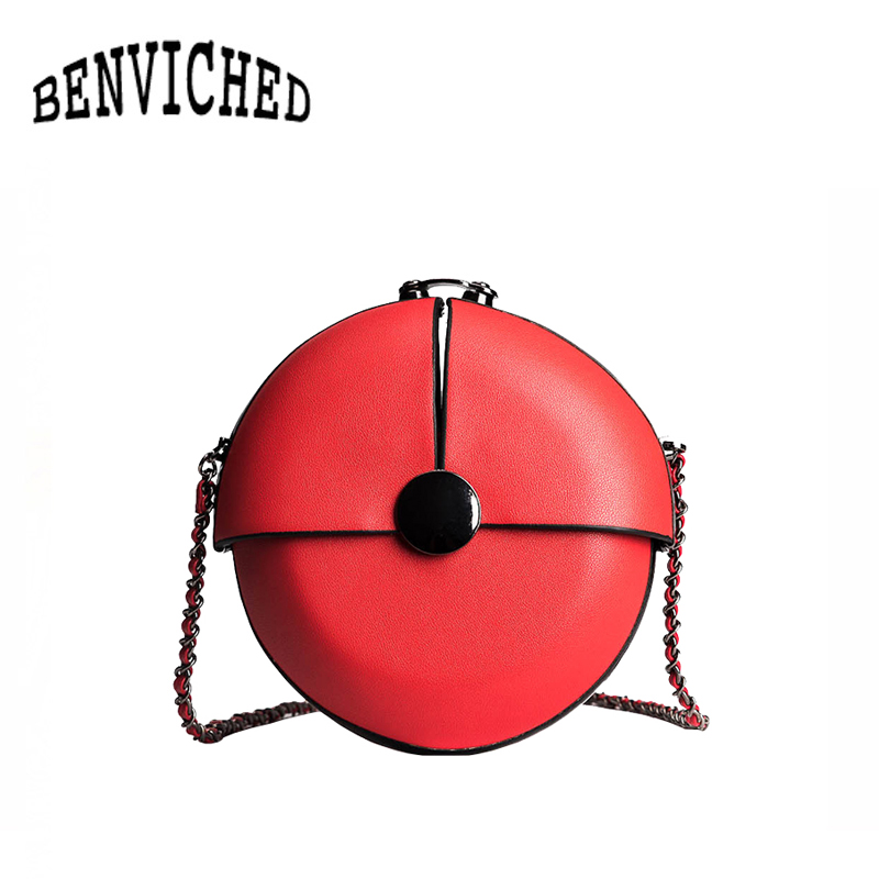 BENVICHED Chain bag female 2018 summer new simple wild buckle small round bag cute mini shoulder Messenger bag R454 micocah women simple double color buckle buckle shoulder bag chain messenger bag gn40021