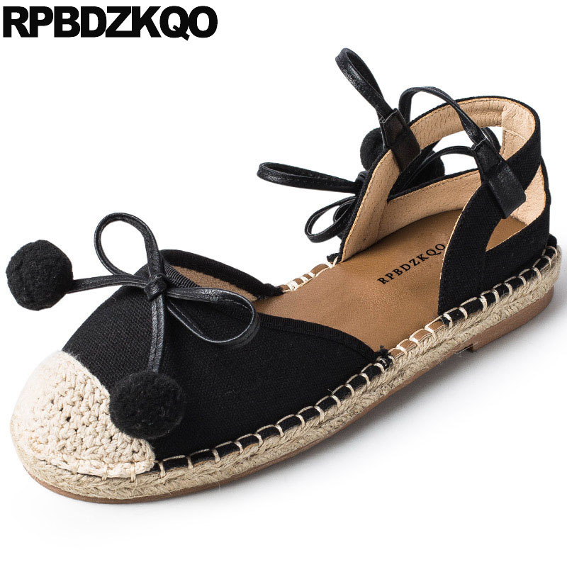 Bowtie Hemp Black Ankle Strap White Canvas Espadrilles Shoes Bow Flats Fisherman Sandals Ladies Lace Up Women Straw Cute Pom Pom straw clutch bag with pom pom