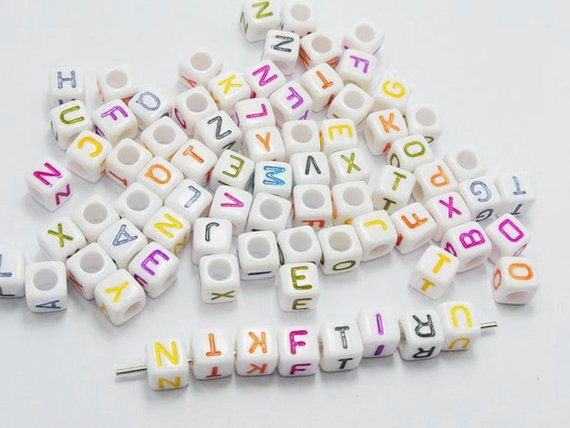 200 Pcs White Cube Beads Alphabet Beads Puzzles Toys Letter Beads Kids Craft DIY Loom Bands Bracelets Jewelry 6x6mm