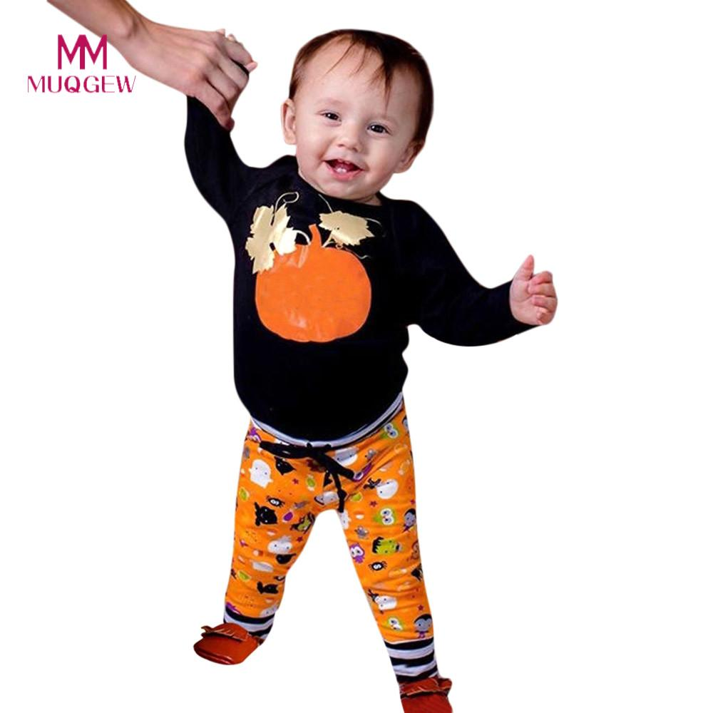 Cute Baby Kids Clothes Halloween Clothing Set Toddler Baby Long Sleeve Pumpkin Print Tops+Pants Halloween Outfits Kids Clothes