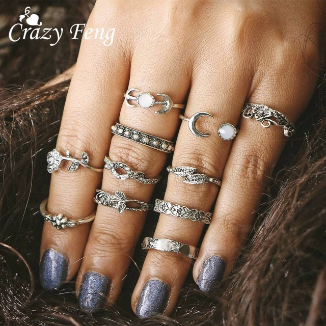 CrazyFeng 11pcs/Set Boho Vintage Punk Antique Flower Carved Midi Finger Ring For