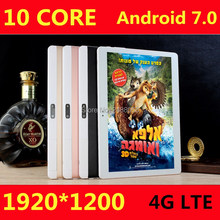 Free Shipping 10 inch Android 7.0 OS 3G/4G LTE tablet pc Deca Core 4GB RAM 64GB ROM 1920*1200 IPS Kids Gift MID Tablets