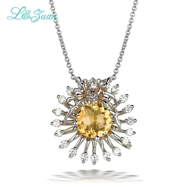 l&zuan 925 sterling silver Natural 1.73ct Citrine Trendy Yellow stone Pendant Jewelry with silver chain Christmas gift