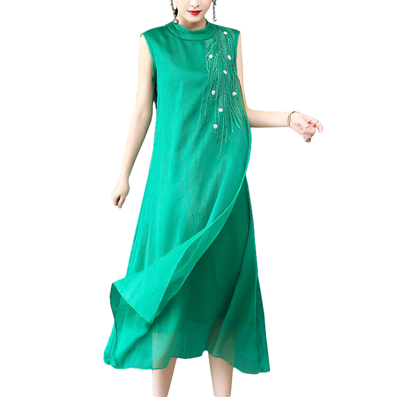 Sleeveless green silk vest dress women 2018 new loose plus size chiffon long dresses floral embroidered elegant vestidos elbise