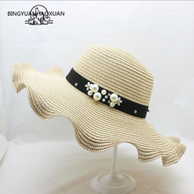все цены на BINGYUANHAOXUAN Hot Sale Straw Sun Hats For Women Girl Cap Anti-UV Beach Summer Floppy Cap For Ladies Straw Flower Hat Wide Brim онлайн