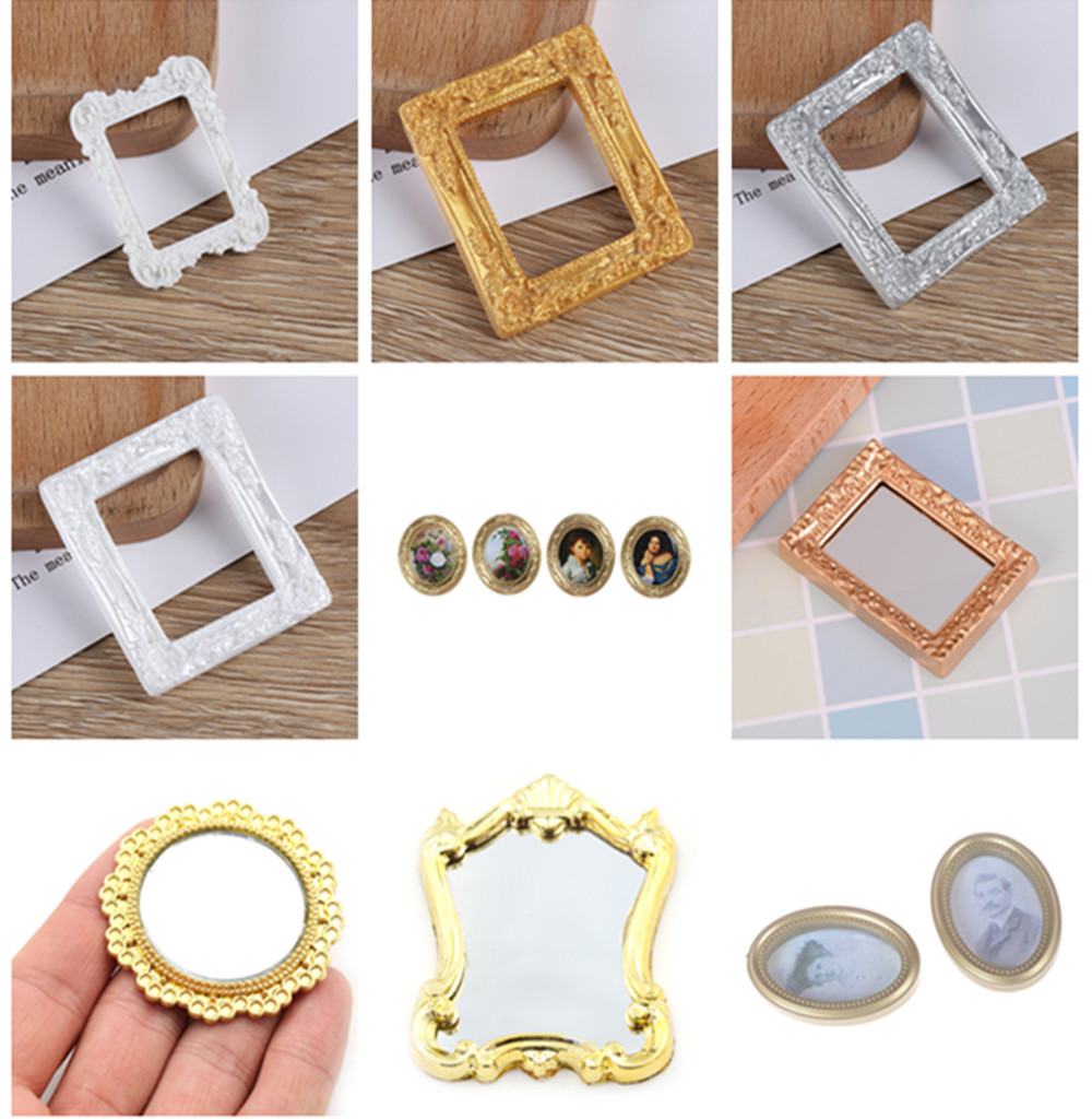 Scale 1/12 Photo Frame Simulation Furniture Model Toy For Children Doll House Decoration Multi Styles Dollhouse Miniature