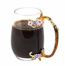 KEYTREND Original Kaffeetasse Emaille Pflaumenblüte Metall Handgriff Glas Tassen, individuelle Geschenk-box Paket Für Perfekte Geschenk AECL090
