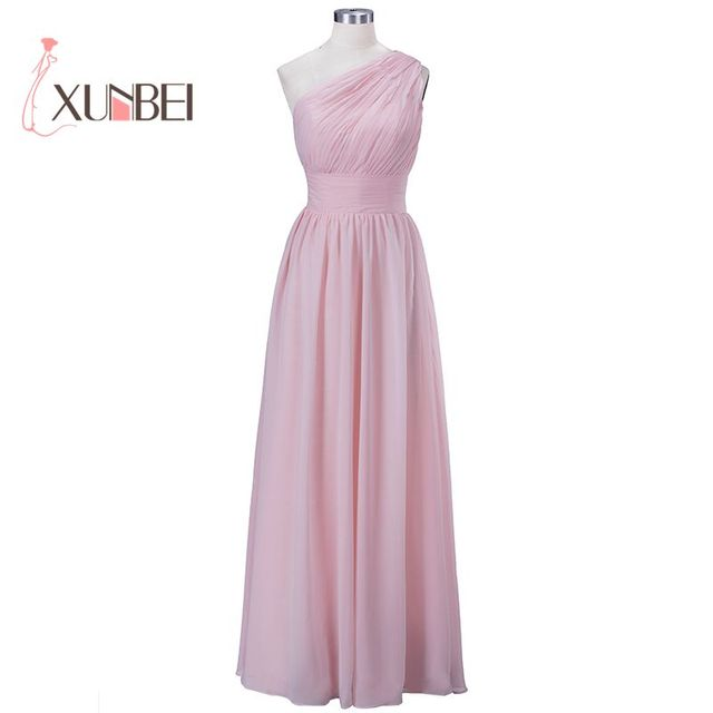 100% Real Samples Robe demoiselle d'honneur One Shoulder A Line Pink Bridemaid Dresses 2019 Chiffon Prom Wedding Party Gowns