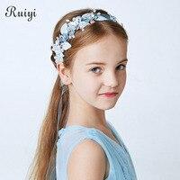 Ruiyi כיסוי ראש לילדים סרטי ראש פנינה בעבודת יד פרח בנות אביזרי שיער חתונה אופנה אירופאית והאמריקנית