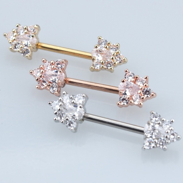 Silver Gold Rose Gold 316L Stainless Steel Straight CZ Zircon Bar