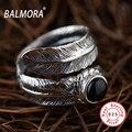 BALMORA 100% Реального Стерлингового Серебра 925 Тайский Серебряные Ювелирные Изделия Перо и черный Агат Кольца Работы для Женщин Мужчин Подарки Партии Anillos SY20910