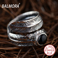 BALMORA 100% Real 925 Sterling Thai Silver Jewelry Feather & Black Agate Opening Rings for Women Men Party Gifts Anillos SY20910