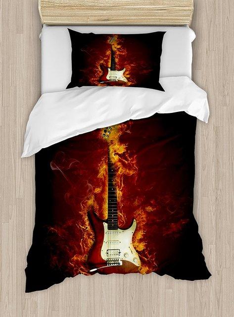Guitar Duvet Cover Set Electric Guitar In Flames Burning Fire Hardrock  Musical Creativity Concept Decorative 4