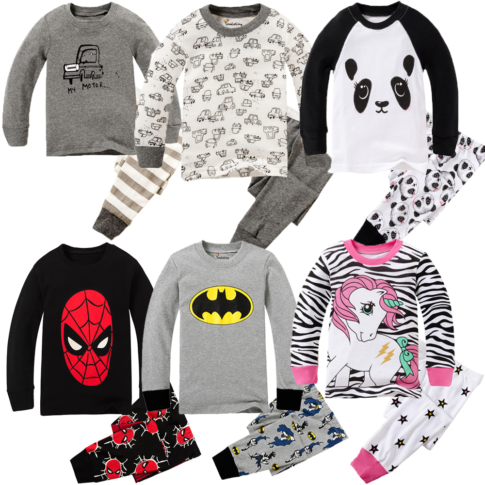 Children Clothing Set Boys Cartoon Sleepwear Kids Super Hero Pajamas Baby Long Sleeve Pijama Girls Unicorn Homewear