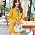 New Long Jackets Women Yellow Turn Down Collar Coat High Quality Plus Size Poncho Fashion Women's Coat With Female Coat YY425