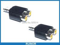 50 PCS 3 5MM Male To 2 Female RCA Socket Audio Splitter Converter Video Audio