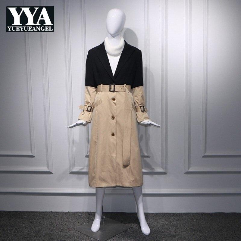 Autumn Women Blazer Spliced Patchwork Belt   Trench   Slim Fit Elegant Long Sleeve Midi Long Coats Brand Ladies Fashion Windbreaker